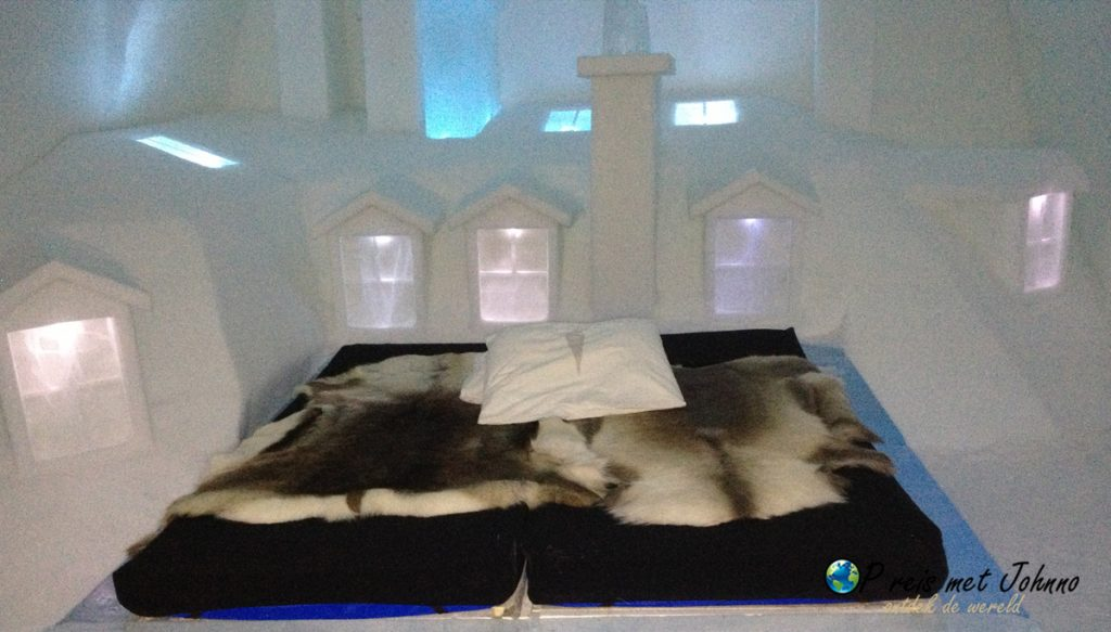De bedden van het Icehotle in Zweeds Lapland