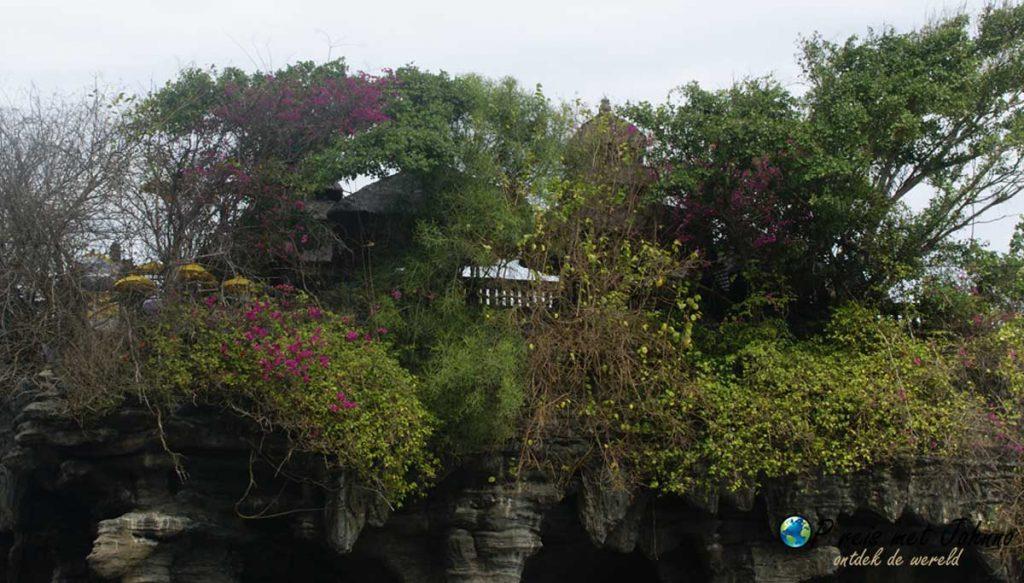 de Pura Tanah Lot tempel verhuld in het groen