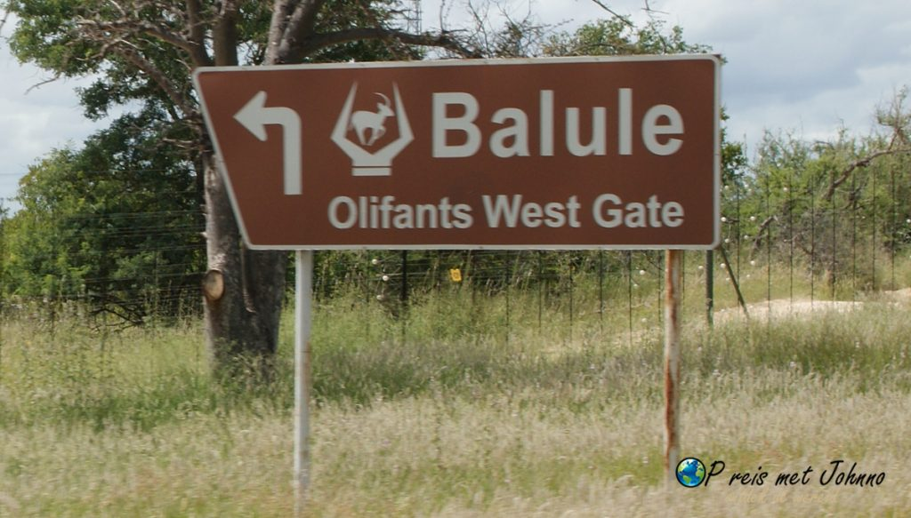 Het bord van Balule olifants west gate. Het reservaat waar je ej vrijwilligerswerk doet