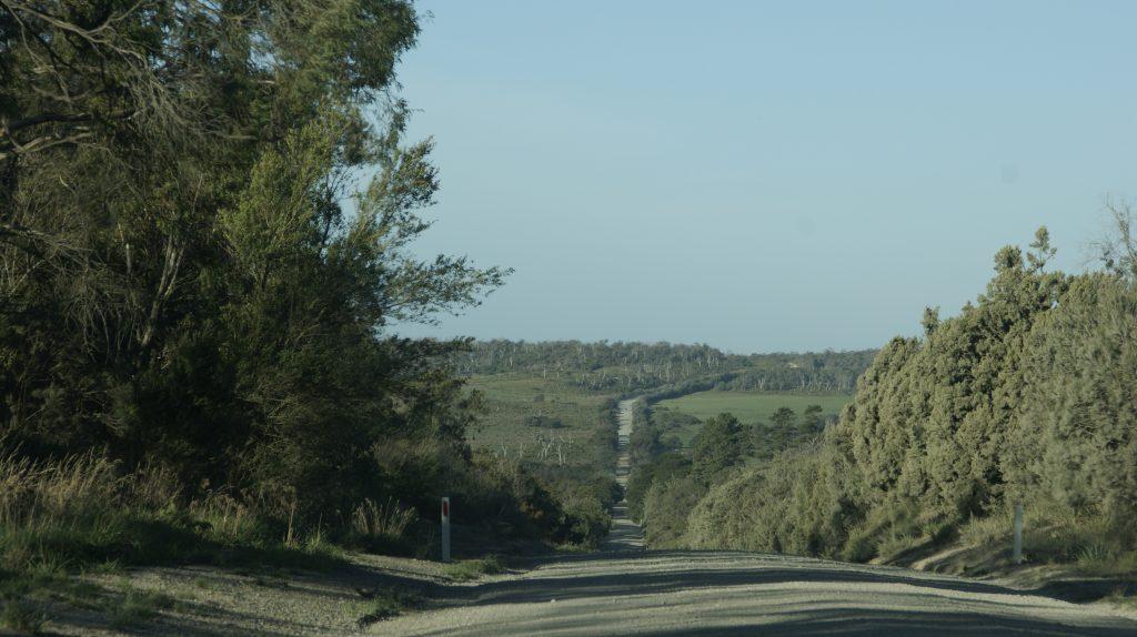 Een van de wegen op Tasmanië