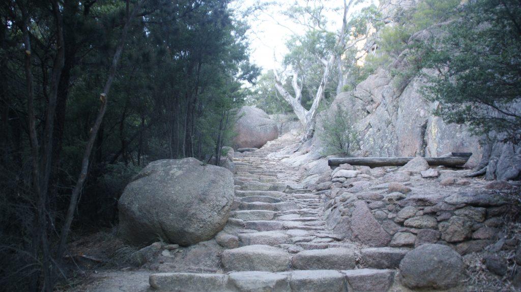 De trap naar het strand van Wineglassbay. Het zijn er meer dan 350.
