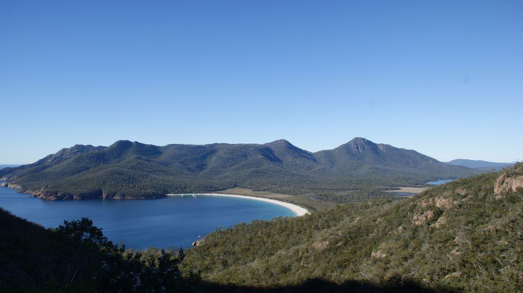 Wineglass bay.  Een van de hoogtepunten van Tasmanië