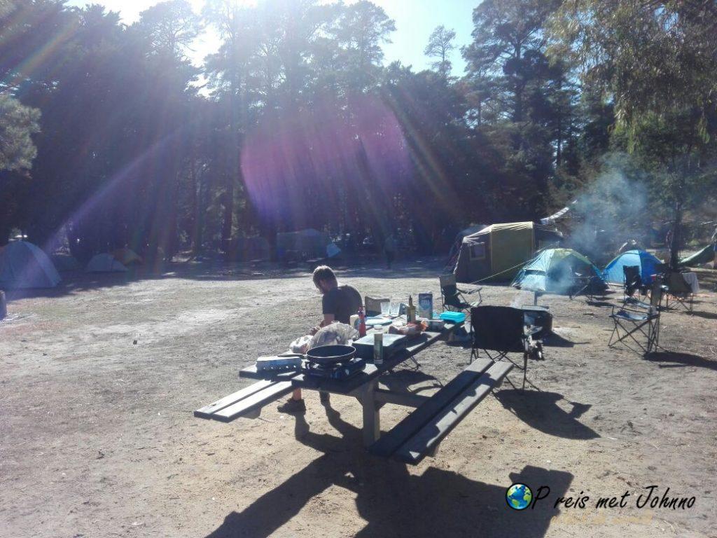 De camping in halls gap in het grampians national park
