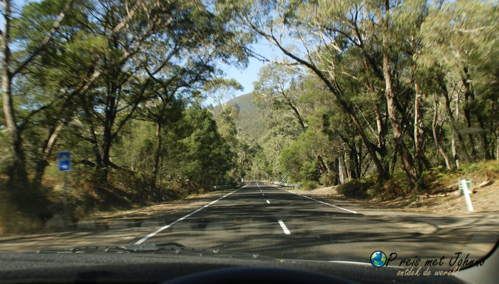 de route door het Grampians national park